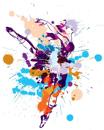 danza moderna: Bailarina de la danza. Ilustración vectorial Vectores