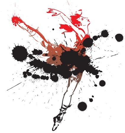 ballet slipper: Chica bailando con manchas y salpicaduras. Ilustraci�n vectorial Vectores