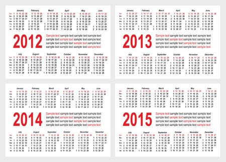Conjunto de 2012 2013 1214 1215 a�o calendario rejilla vector bolsillo