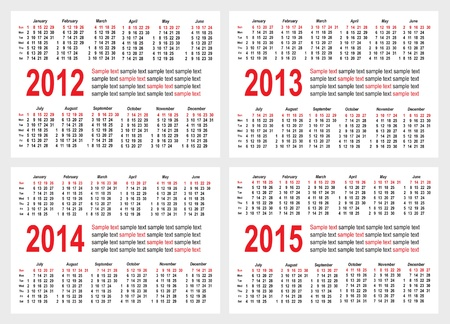 Set of 2012 2013 1214 1215 year, Calendar grid pocket vector Stock Vector - 11295796