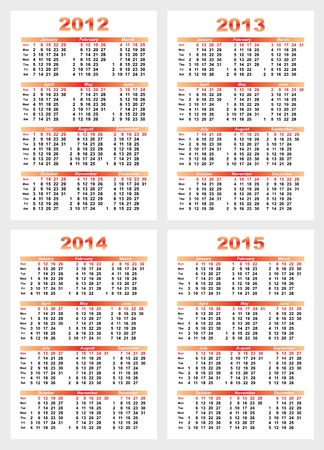 Set of 2012 2013 1214 1215 year. Vector illustration Vector