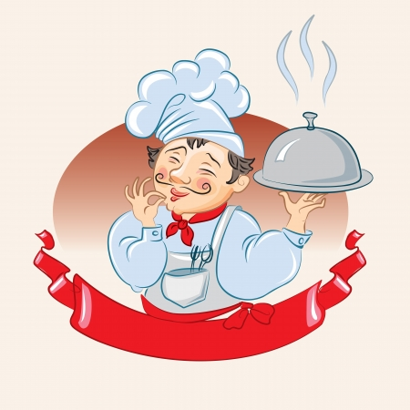 french cuisine: Cook a hot dish is. Vector illustration Illustration
