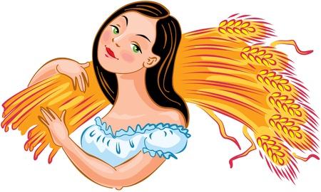ječmen: Mladá dívka nese uši pšenice. Vektorové ilustrace