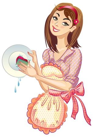lavar trastes: Lavar los platos. Detergentes. Ilustración vectorial Vectores