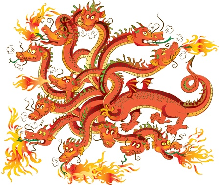 big smile: Red dragon with twelve heads. Vector illustration