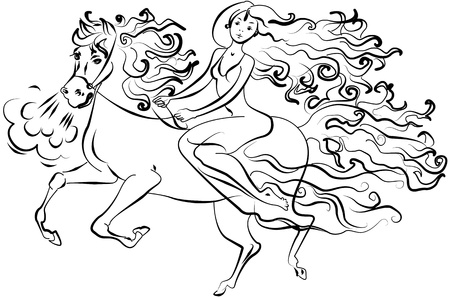 airiness: Girl sitting on a horse, vector illustration