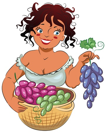 reaping: Friendly girl holding a branch of ripe grapes. Vector illustration