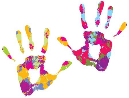 odcisk kciuka: Dwa wielobarwne handprints r. Ilustracji wektorowych Ilustracja