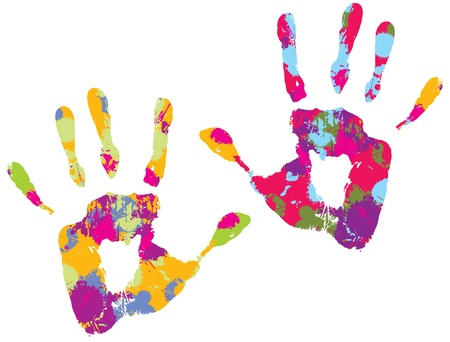 Two multi-colored handprints. Vector illustration Ilustração