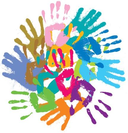 handprints: Multi-colored handprints. Vector illustration Illustration