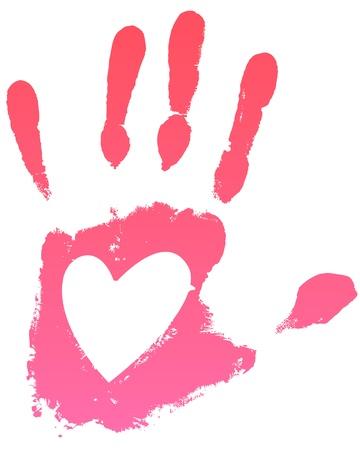 Handprint rosa con il cuore. Vector illustration