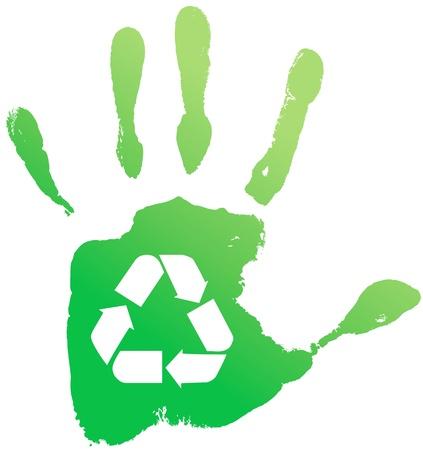 reciclable: Handprint reciclar. Ilustración vectorial Vectores