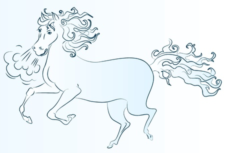 Pony rides, drawing a line. Vector illustration Vector