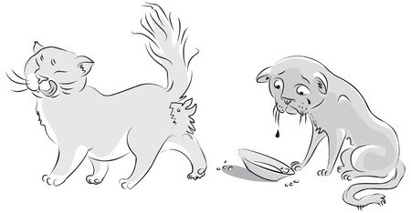 abject: Sad cat looks at the empty plate, fat cat licked Illustration