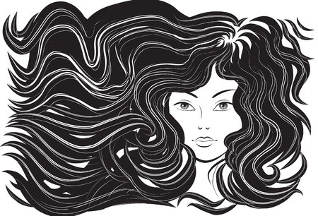 beautiful long hair: Beautiful woman with flowing hair. Vector illustration