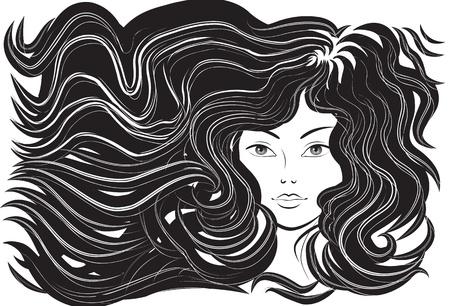 Mooie vrouw met wapperende haren. Vector illustratie Vector Illustratie