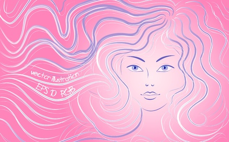 Beautiful woman with flowing hair. Vector illustration Vector