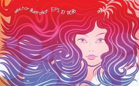 hair cover: The little mermaid. Vector illustration Illustration
