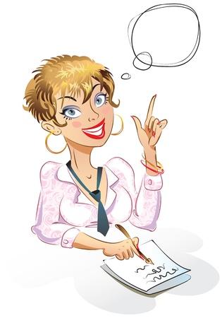 frau denken: Business-Frau unterzeichnet ein Dokument, das Illustration