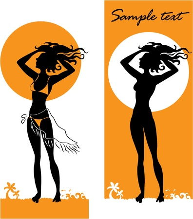 Dark-skinned girl standing on the beach. Vector illustration Vector