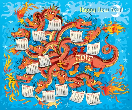 Dragon with twelve heads, year dragon, calendar 2012 Vector