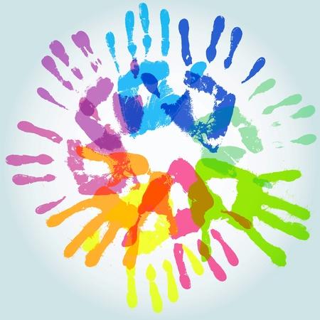 Huella de la mano de colores, ilustración vectorial