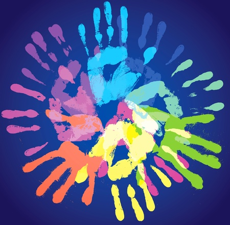 Multi-colored prints of the hands, vector illustration Vector