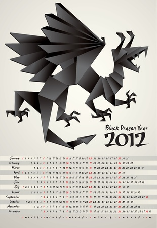 Black Dragon Year, calendar 2012, origami, vector Vector