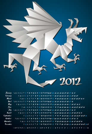 year of the dragon: Year dragon, calendar 2012, origami, vector