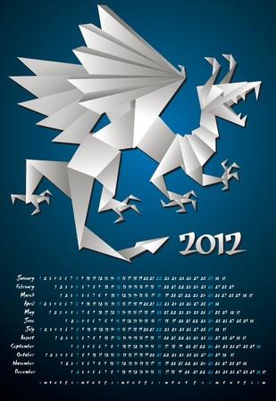 Year dragon, calendar 2012, origami, vector Stock Vector - 11562798