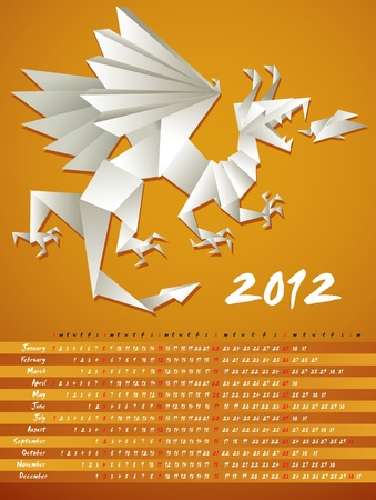 Year dragon, calendar 2012, origami, vector Vector