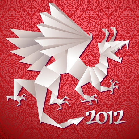 year of the dragon: Year dragon, 2012, origami, vector illustration