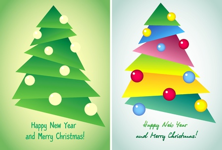 coloured background: Christmas tree, vector illustration