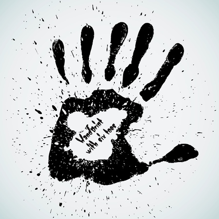 touching hands: Handprint with six toes, vector illustration