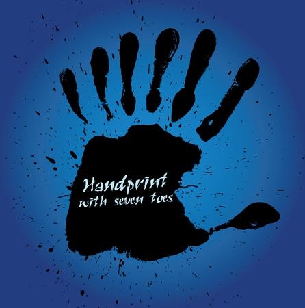 originalidad: Huella de la mano con siete dedos, ilustraci�n vectorial Vectores