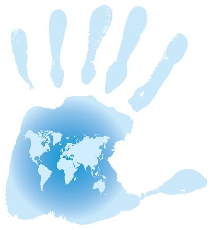odcisk kciuka: Handprint, mapa Å›wiata, ilustracji wektorowych