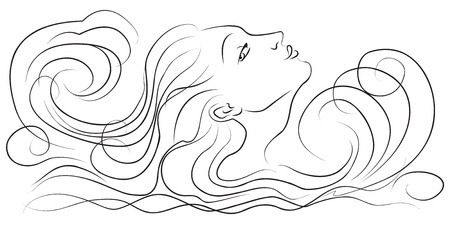 Girl in the waves, vector illustration Vector
