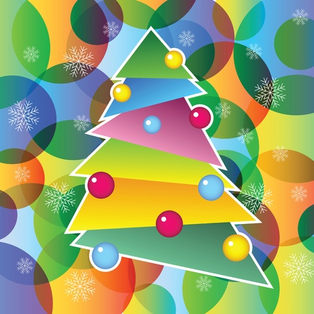 richly: richly decorated Christmas tree, vector illustration