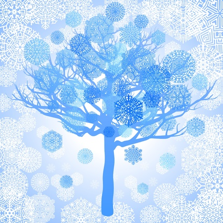 Blue snowflakes on the tree, vector illustration Vector