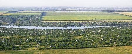 Landschap met het oog van een vogel is van mening, panorama
