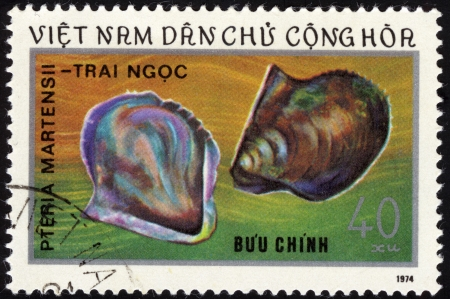 philatelic: Pearl from Japan  Vietnam postage stamp