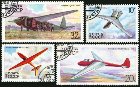 Airplane glider USSR, postage stamp photo