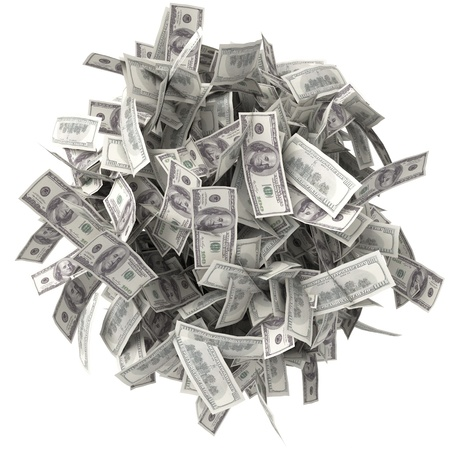 a lot of money: Crumpled bills  Pile of money  Ball of notes  One hundred dollars