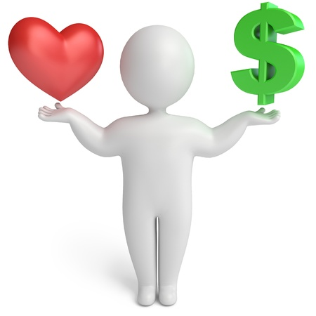 choice between love and money, 3d render photo