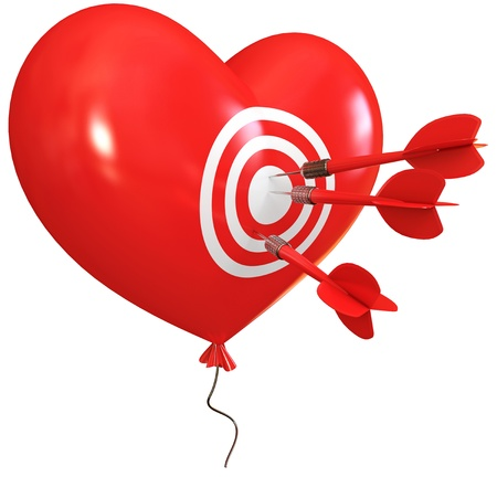 penetrating: Balloon in heart shape  Darts on target  Cupid arrow Stock Photo