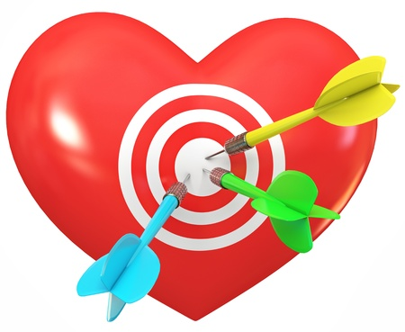 Balloon in heart shape  Darts on target  Cupid arrow Stock Photo - 13923819