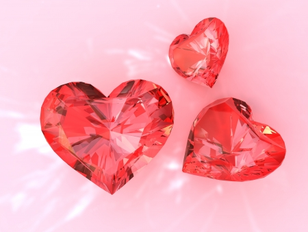 ruby stone: The red ruby heart, 3d render