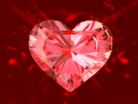 rubies: The red ruby heart, 3d render