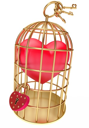 confinement: heart in a golden cage, on a white background, 3d render