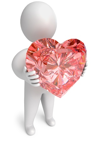 diamond heart in hand, on a white background, 3d render photo